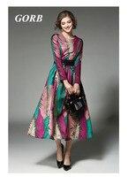 2017 Spring Autumn Newest Europe Hot Sales Fashion Women Good Quality High End Jacquard Dress Long