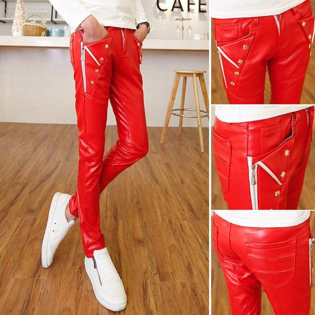 e5cb6f89 Red white zipper personality slim Motorcycle sport faux leather pants men  skinny pants mens outdoor men trousers fashion