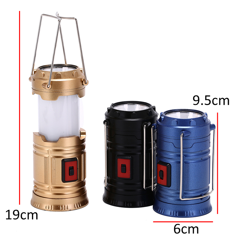 Outdoor Flashlights Luminaire LED Solar Power Collapsible Portable LED Rechargeable Hand Lamp Camping Lantern Light