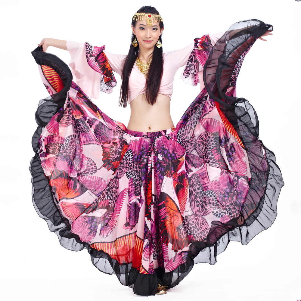 Women Gypsy Belly Dance Skirts Full Bellydance Dress Big Flowers Dancing Costume Large Skirts For Professional Stage Performance