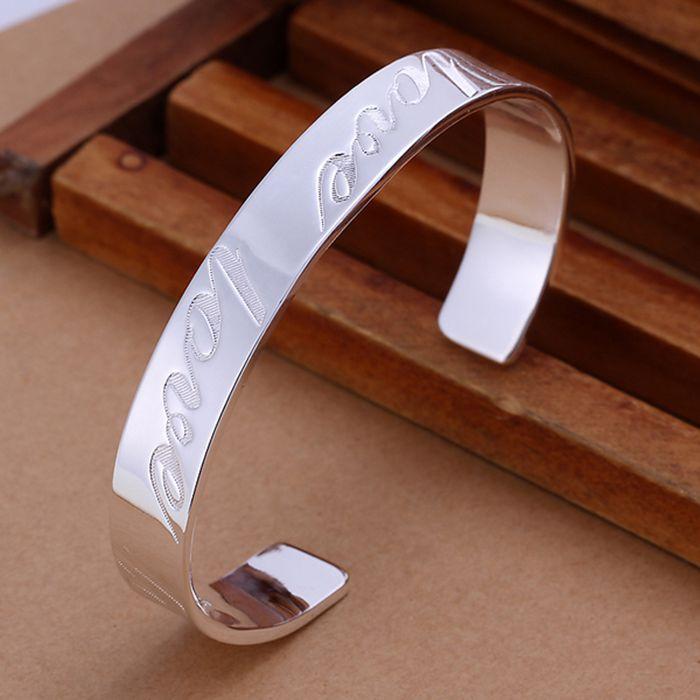 b06a6d7825a7 Plata fina plateada brazalete 925-esterlina-joyería de plata plateado amor  pulseras brazaletes para las mujeres hombres