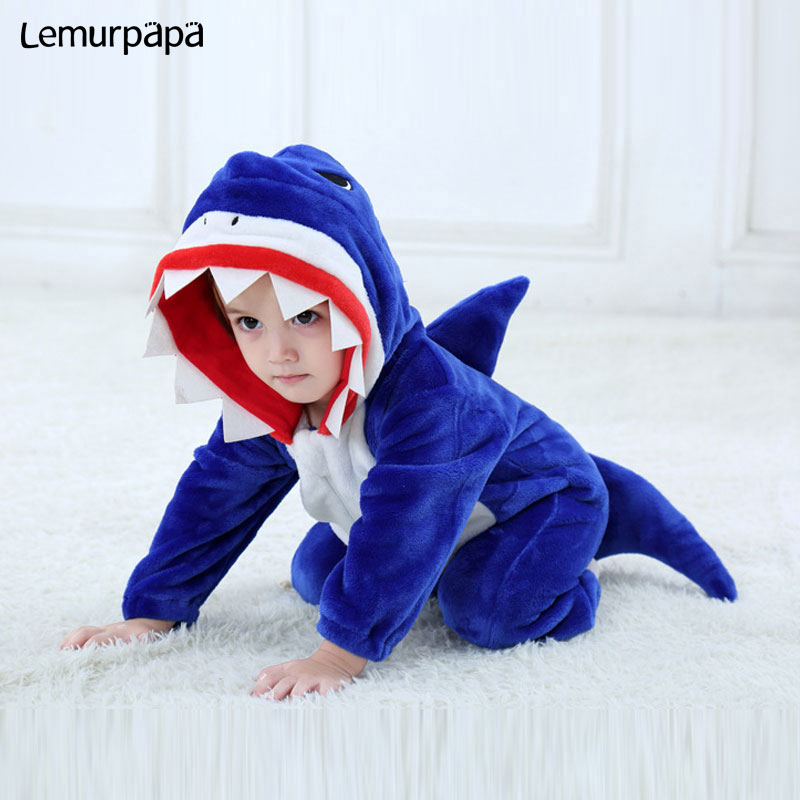 Baby Shark   Romper   Toddler Boy Girl Animal Costume Funny Kigurumi Onesie Newborn Winter Play Suit Jumpsuit Flannel Warm Pajama