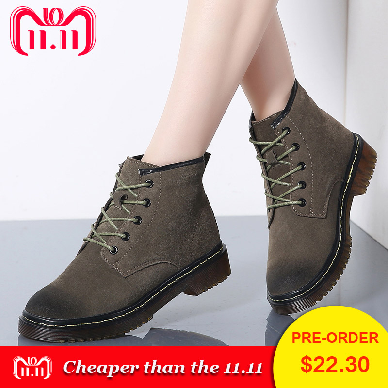 PINSEN High Quality Winter Women Boots Genuine Leather Motorcycle Ankle Boots Women Lace-up Plush Warm Classic Martin Boots цена