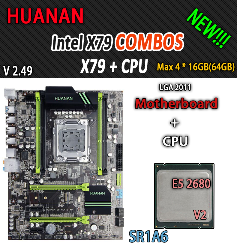 HUANAN d'or V2.49 X79 mère LGA2011 ATX combos E5 2680 v2 SR1A6 USB3.0 SATA3 PCI-E NVME M.2 SSD port soutien 4x16G RAM