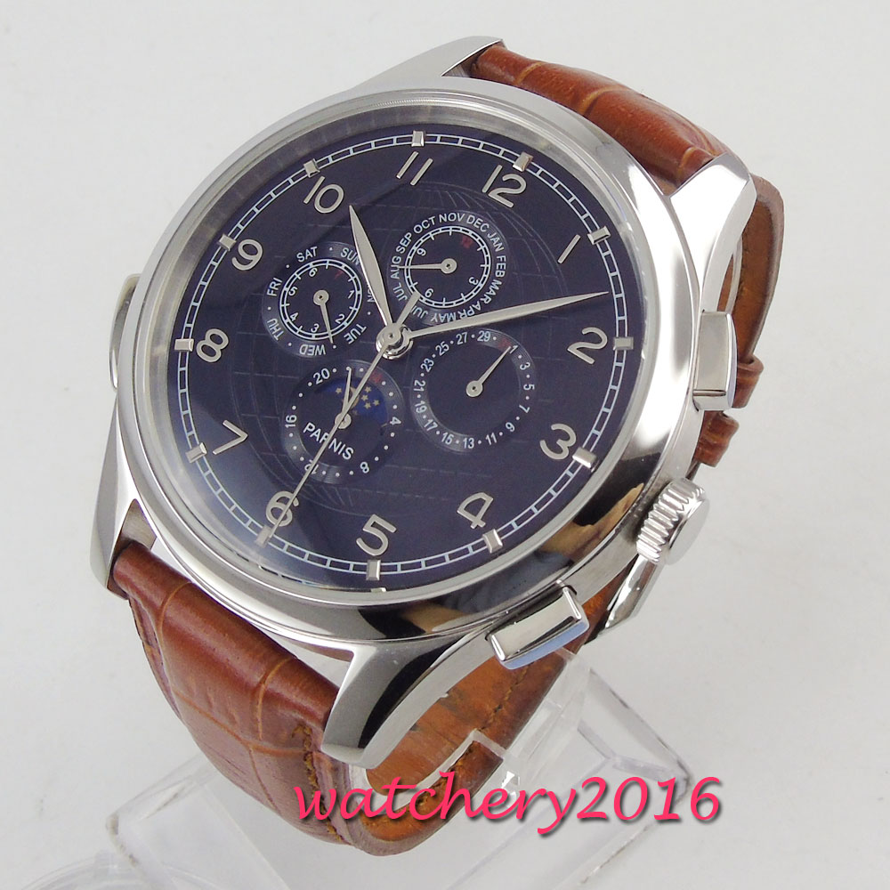 44mm PARNIS black dial blue marks Moon Phase Multifunction automatic mens watch44mm PARNIS black dial blue marks Moon Phase Multifunction automatic mens watch