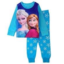 Одежда Эльзы и Анны для девочек Одежда для маленьких девочек комплект с Микки и Минни Маус, Детская осенняя одежда для девочек Пижамный костюм из двух предметов для девочек