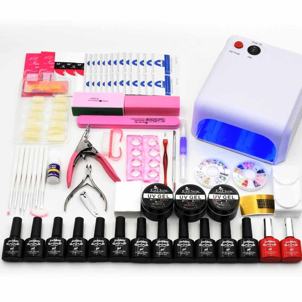 Ногтей набор комплект ногтей гель УФ светодиодный светильник 12 видов цветов гель для ногтей UV гель для наращивания Топ Base coat маникюрные инс...