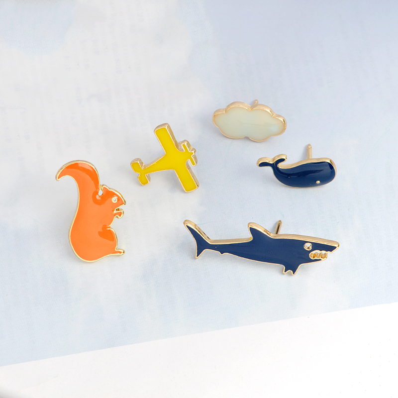 Cartoon Shark Squirrel Cloud Aircraft Whale Brooch Pin Button Enamel Animel Pin Backpack Jacket Pin Badge Icon Jewelry For Kids ...