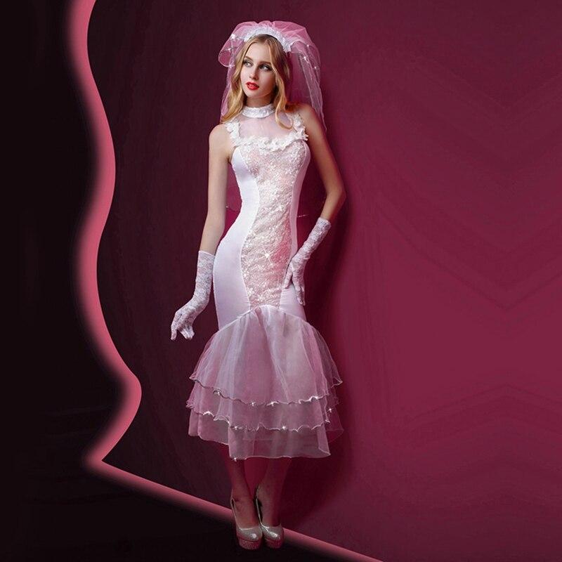 Female Porn Sexy Lingerie Mermaid Dress Women Erotic White Wedding Dress Costumes Temptation Transparent Sexy Underwear 6037