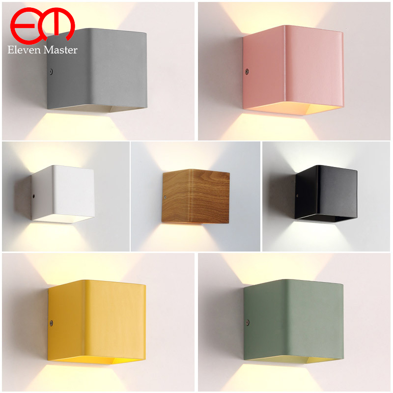 2 pieces Painted Wood Grain colorful Wall Lamp 10*10*10cm Aluminum 5W Led Up Down Light Bedside Lights Led Stair Lighting WWL001 colorful wood grain print flannel bath rug