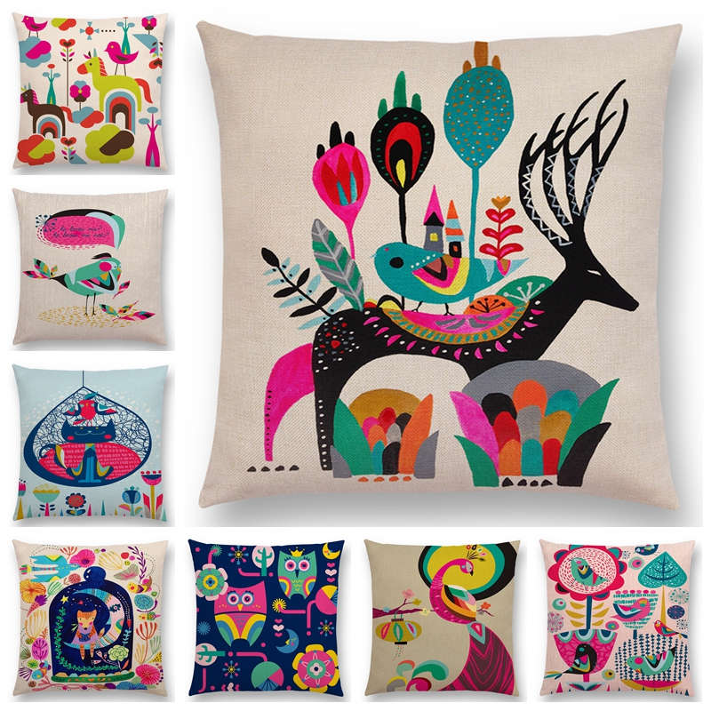 Cartoon Sofa Throw Pillow Case Colorful Animals Bird Cat Deer Peacock Owl Flowers Song Cushion Cover