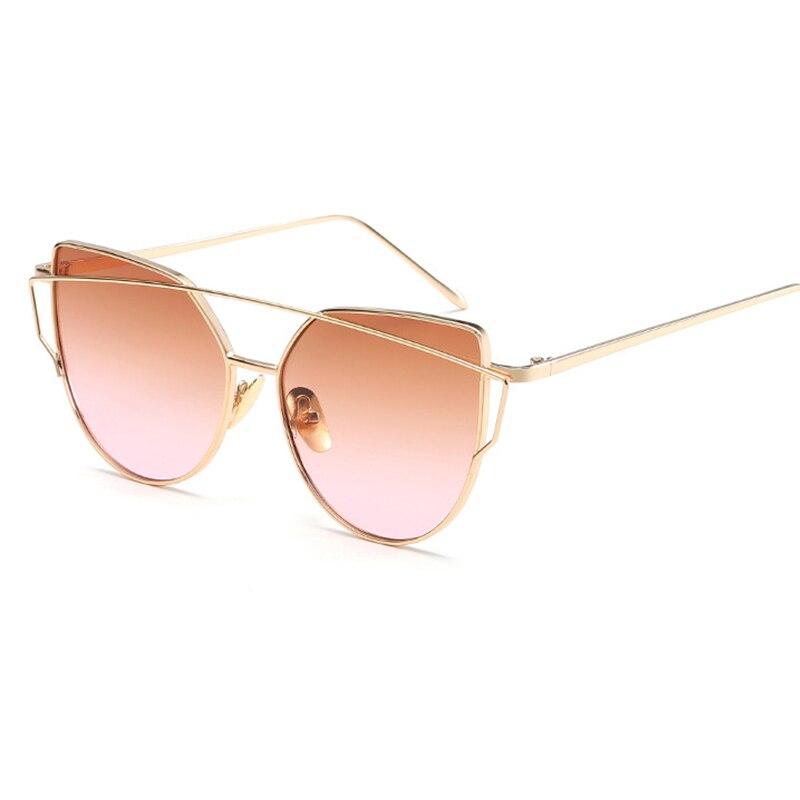 2017 Brand Retro Cat Eye Sunglasses Women Vintage Fashion Rose Gold Mirror Eye Glasses Unique Flat Ladies Eyewear Oculos UV400 4