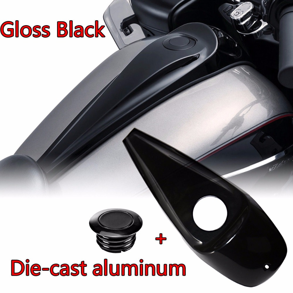 Black Deep Carved Style Fuel Gas Door Cover for 2008-2017 Harley Touring Electra Glide FLHX