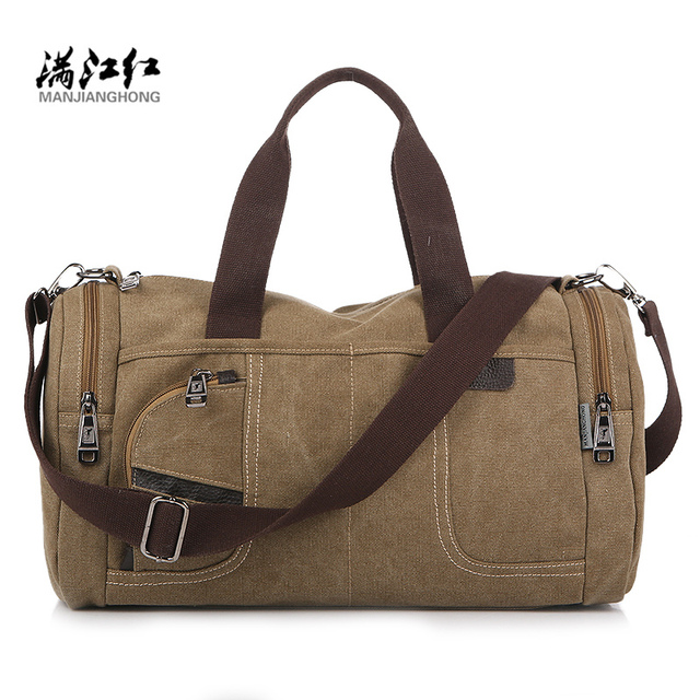 Fashion 2017 Canvas Leather Carrying Men S Handbag Travel Bag Large Weekend Luggage Overnight