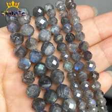 Perles en labradorite grise naturelle, pierres à facettes en vrac, accessoires de bijoux pour bricoler bracelet ou collier,de dimensions 7,5 et 6/8mm