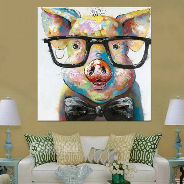 f93656118a8b Online Shop Hand Painted Acrylic Canvas Oil Paintings Colorful Frog with  Big Glasses Funny Modern Abstract Animal Wall Art Kid s Room Decor