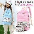 Hot 2016 New Canvas Backpack Lovely Hello Kitty Shoulder Bag Travel Backpacks School Bags School Wind Bolsas