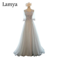 Lamya 10 Colors Customized Half Sleeve Lace Long Bridesmaid Dresses For Women 2016 Fashion Wedding Party