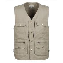 b Spring and autumn 100% Cotton Multi Pocket Vest Men Summer 2019 New Male Sleeveless Jacket Mens Photographer Baggy Waistcoat
