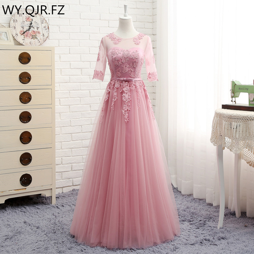 MNZ5608DS#Three Styles Of Long Medium Short Red Bean Half Sleeve 2019 Spring Lace Up Bridesmaid Dresses Wedding Prom Party Dress