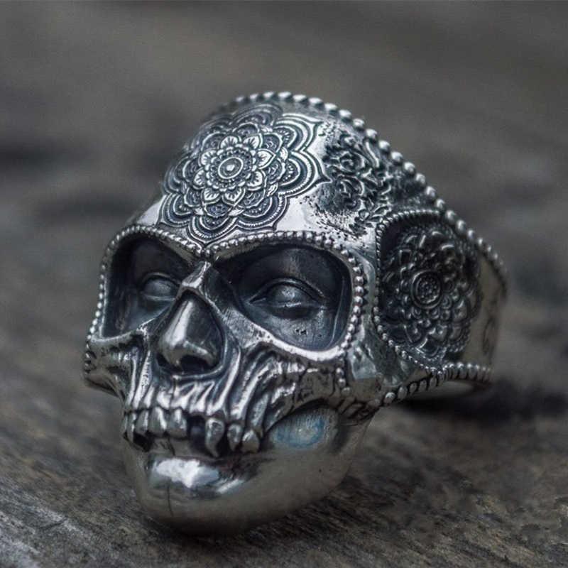 Unikatowy kolor srebrny stal nierdzewna 316L ciężka cukrowa czaszka pierścień mężczyzna Mandala kwiat Santa Muerte biżuteria dla rowerzystów
