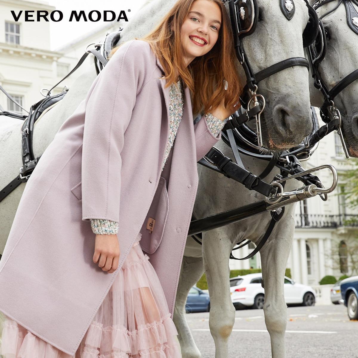 Vero Moda Women's New 100% Wool Double-sided Single Buckle Minimalist Woolen Overcoat | 318327505