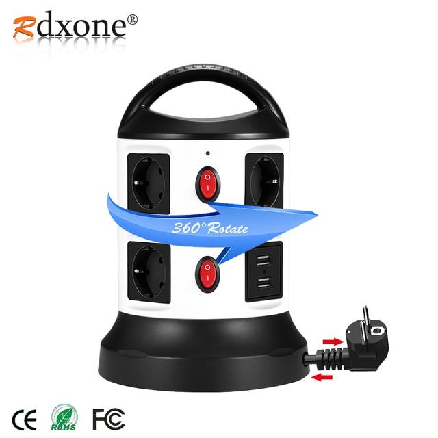 Rdxone eu延長ソケット電源タップサージプロテクター、1.8mリトラクタブル延長コード、区切らswtichs制御