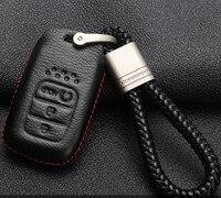 Samochód Prawdziwej Skóry Klucz Case Holder Pierścień Łańcucha Dla Honda Civic Pilot Accord CRV MK10 VEZEL 9 Elementem Jazz Legend Fob Inteligentny klucz