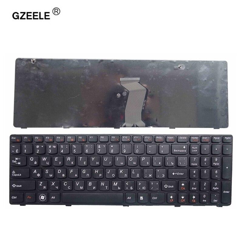 Клавиатура для ноутбука GZEELE, красная, черная, русская клавиатура с рамкой для lenovo G580 Z580A G585 Z585 G590