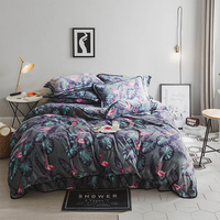 Flamingo And Plants Printed Flannel Duvet Cover Set Winter Warm Quilt Cover Fleece Bed Sheet Pillow