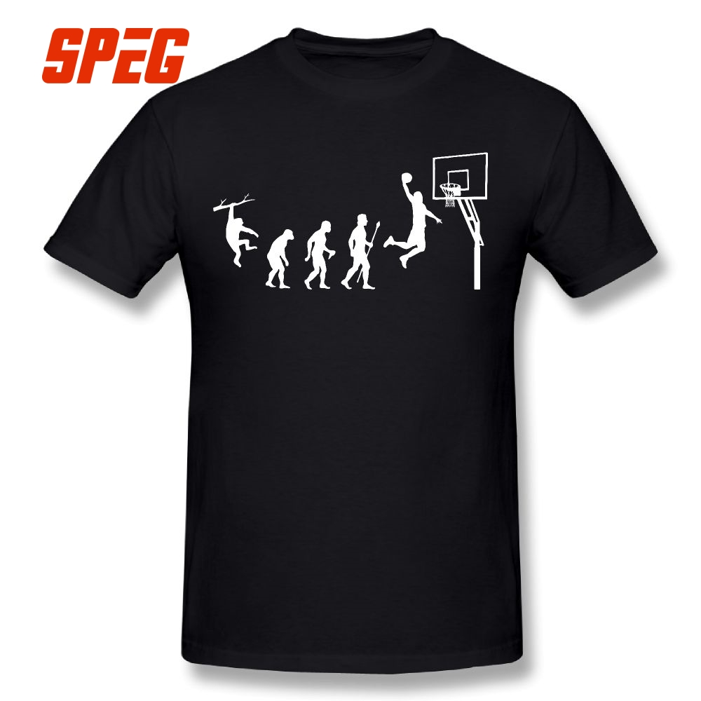 Born to Play Basketball Evolution Funny   T     Shirt   Funny Round Neck 100% Cotton Tees   T  -  Shirts   Short Sleeves Man 5XL 6XL Plus Size