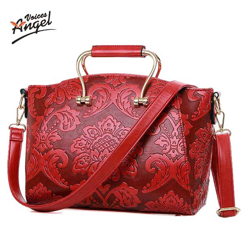 2017 Fashion Embossed Leather Women Handbag Quality Leather Women Bag Vintage Shoulder Bag Chinese Style Ladies