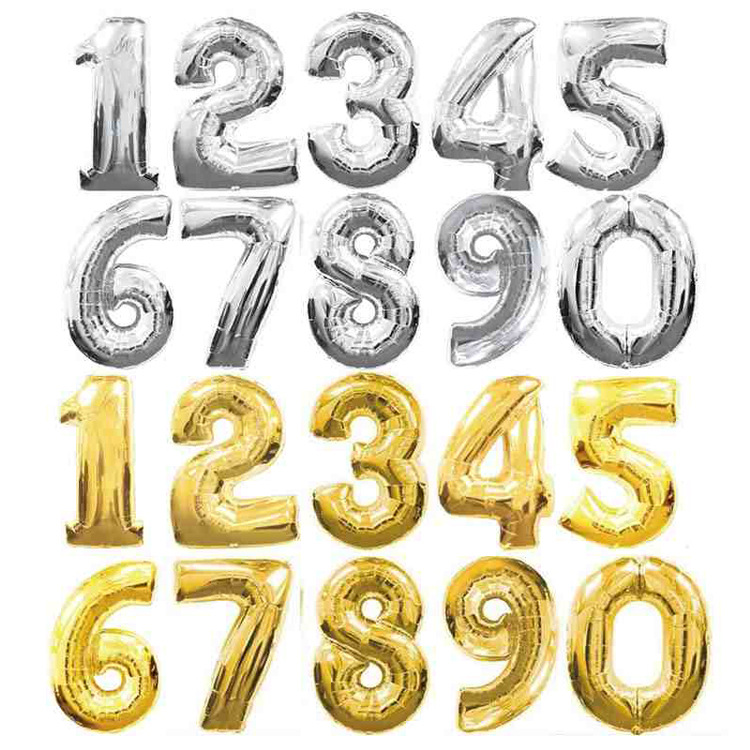 32 inch Gold Silver 0-9 Numbers Large Helium Number Foil Children Festivals Decoration Birthday Party Balloons for Kids