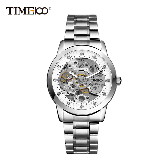 TIME100 - Mechanical Self Wind Skeleton Watch Stainless Steel 1