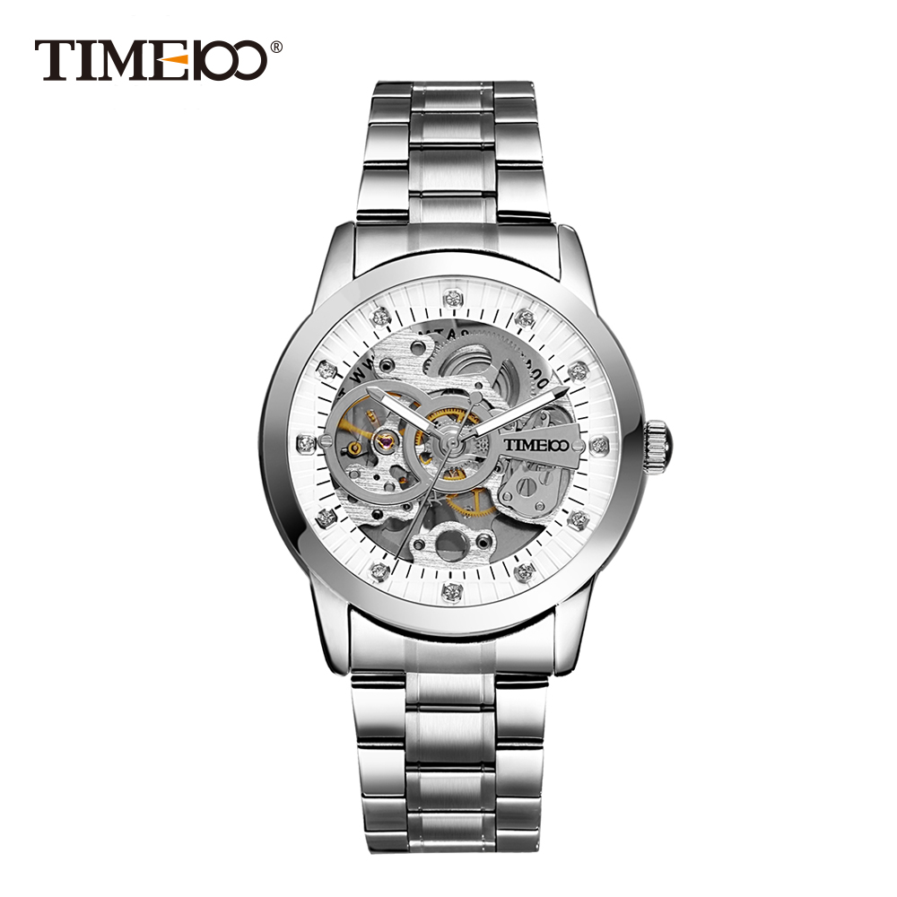 TIME100 Fashion Men's Mechanical Self Wind Skeleton Watch Stainless Steel Strap Business Casual Wrist Watches Clock shenhua brand black dial skeleton mechanical watch stainless steel strap male fashion clock automatic self wind wrist watches