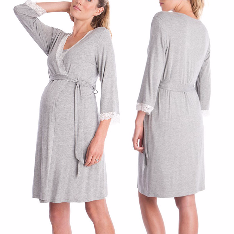 Maternity Clothes Pajamas Pregnancy Dress Casual Nursing Baby for Maternity Dress Lace Stitching Long Sleeve Night-robe Pagamas
