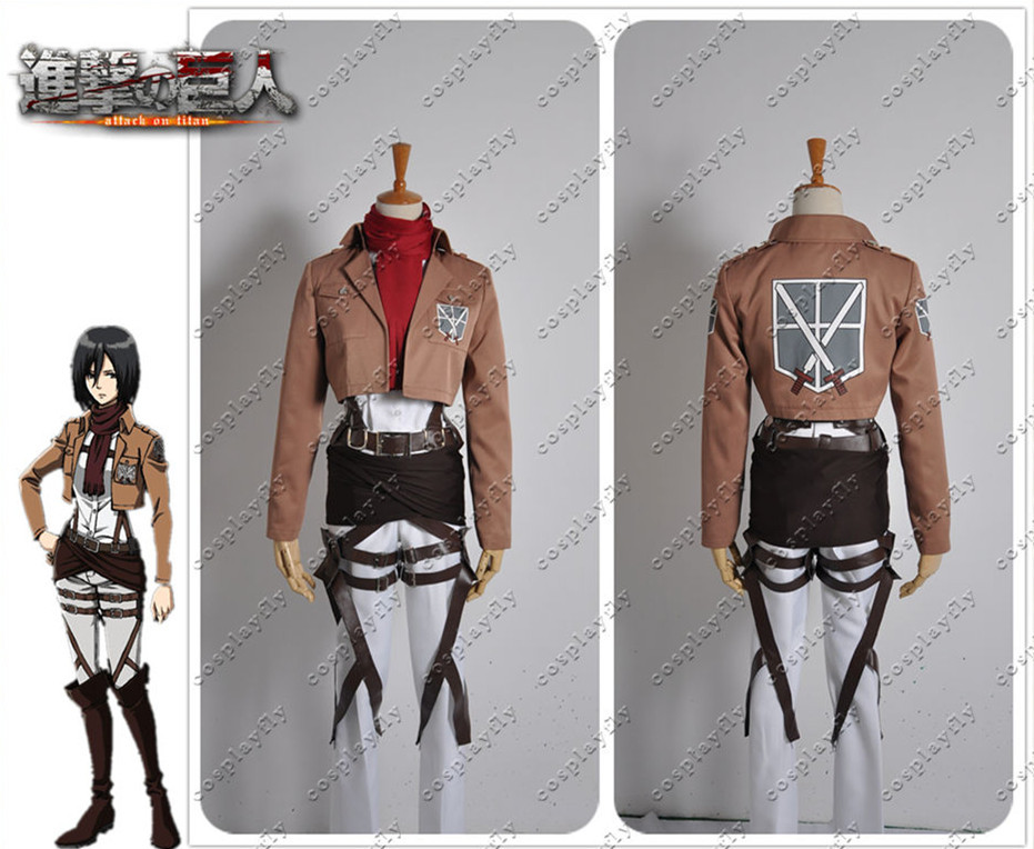 Attack on Titan Shingeki no Kyojin Shingeki no Kyojin Version Mikasa Ackerman Cosplay Costume with Wig and Free Wig Cap (J0006)