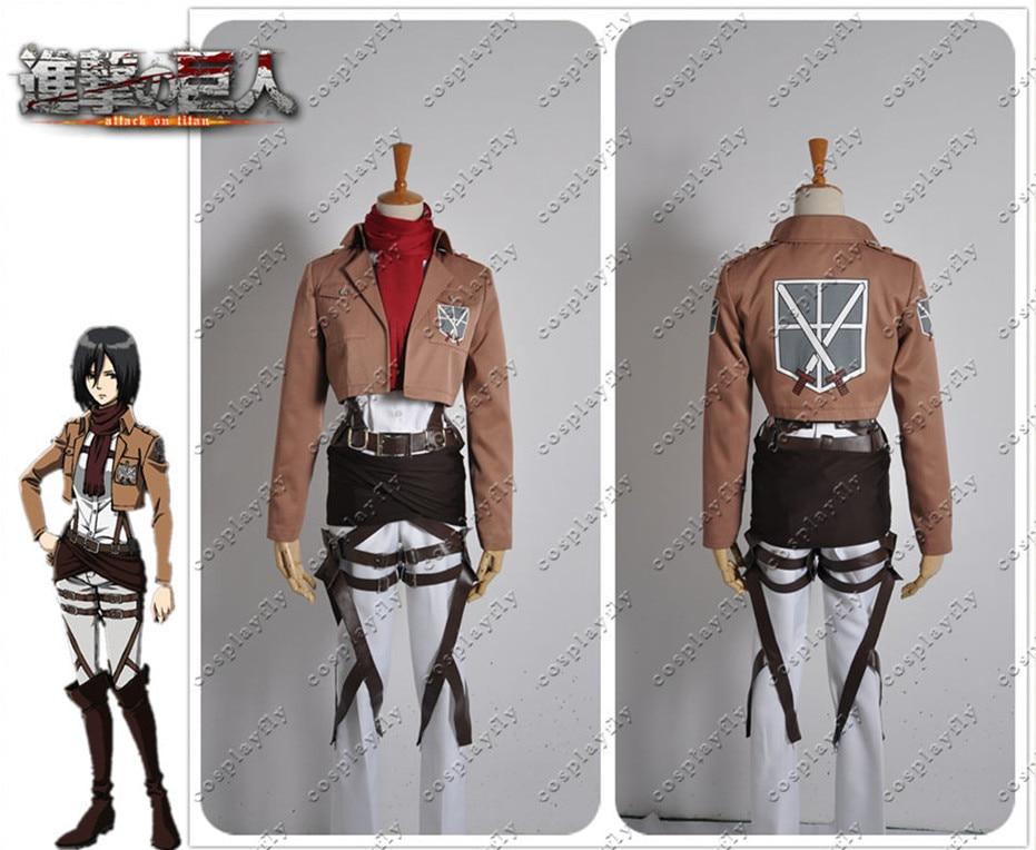 Attack on Titan Shingeki no Kyojin Shingeki no Kyojin Version Mikasa Ackerman Cosplay Costume with Wig and Free Wig Cap (J0006)