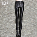 Black genuine leather pants 100% lambskin spliced pencil  pants thick fleeced trousers pantalon femme pantalones mujer LT1092