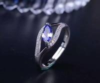 Natural Tanzanite Gem Ring Natural Gemstone Ring 925 Sterling Silver Trendy Elegant Lovely Opening Women Party