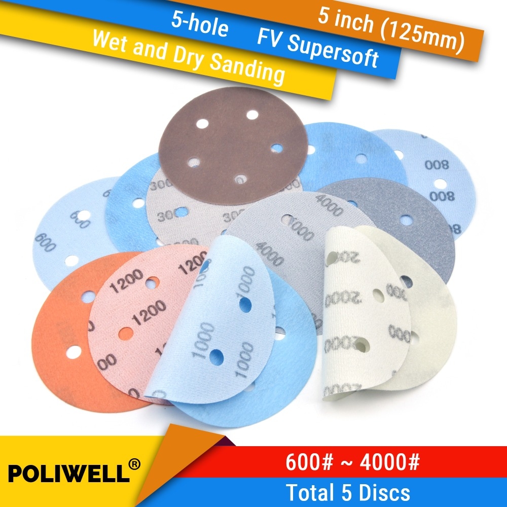 5pcs 5 Inch 600#-4000# With The Best Service 125mm 5-hole Fv Superfine Hook & Loop Wet/dry Auto Body Film Sanding Discs Paint Abrasive Sandpaper