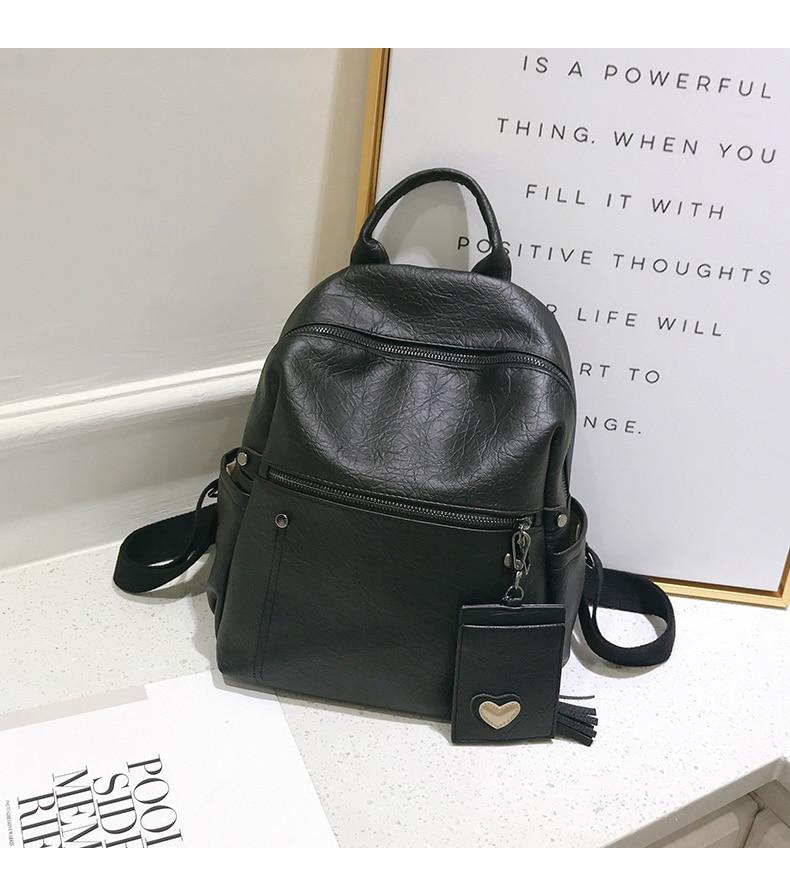 Women Leather Backpack Teenage Girls School Bag Female Vintage Large Solid Soft Backpacks Mochila Black Back Pack Bags New XA86H