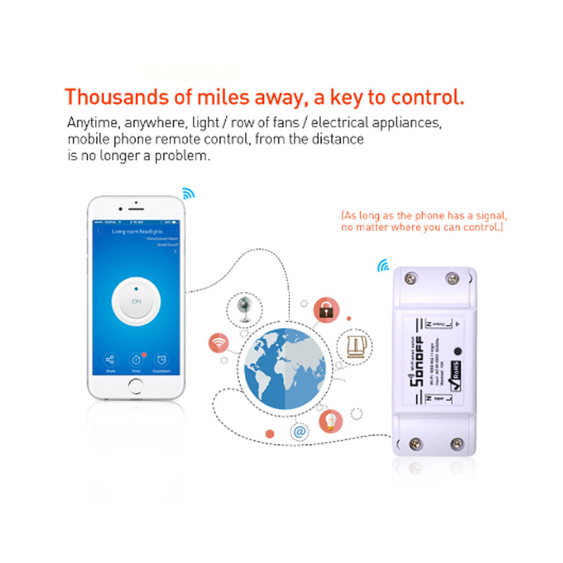 3pcs SONOFF Basic Wifi Switch For Alexa Google Home Timer 10A/2200W Wireless Remote Switch Smart Automation Module