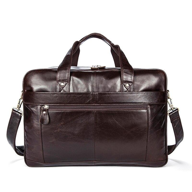 Leather Men Bag Horizontal Business Men's Briefcase Cow Leather  Men's Shoulder Handbag Travel Bag High Capacity