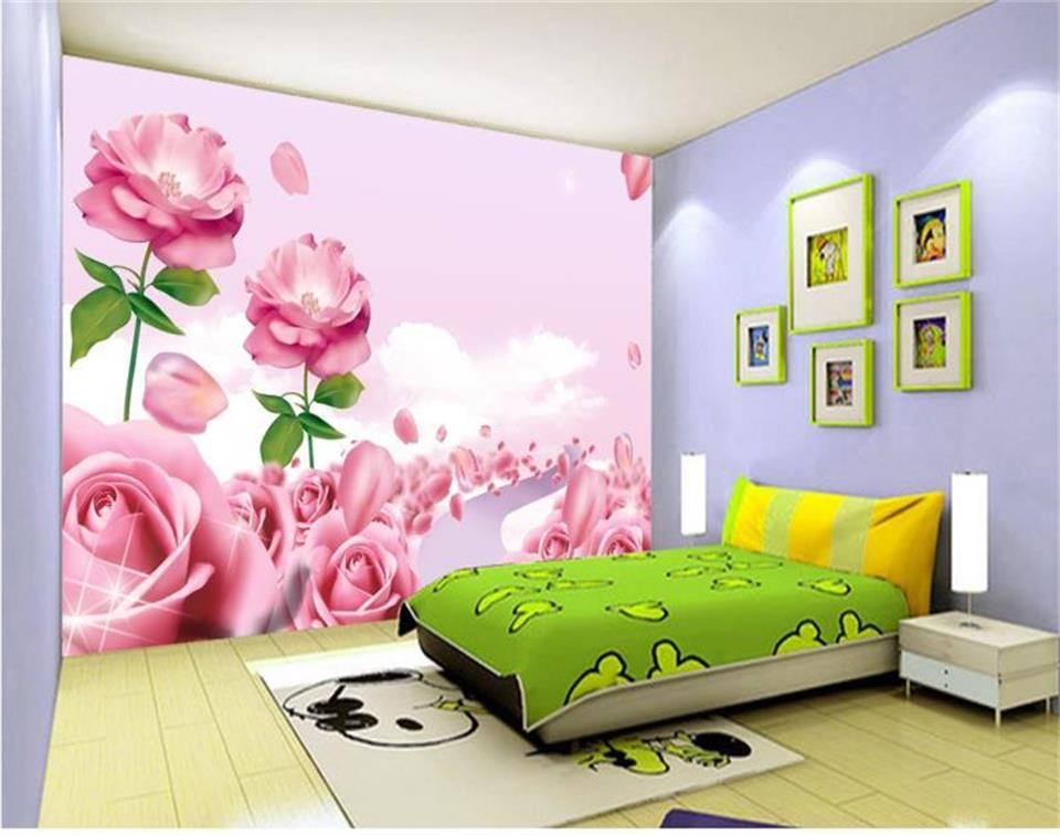 custom 3d photo wallpaper mural kids room princess room rose flowers 3d painting sofa TV background wall non-woven wall sticker 3d wallpaper custom mural non woven wall sticker black and white wood road snow tv setting wall painting photo wallpaper for 3d