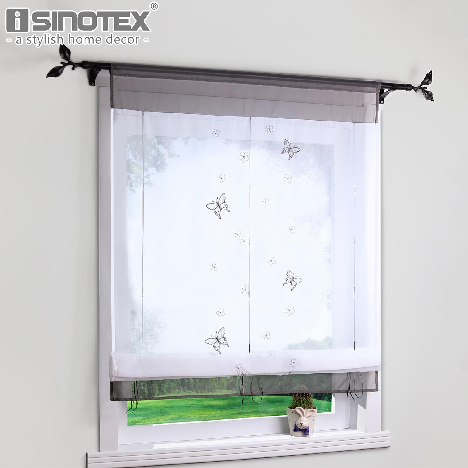 b661542cb Cortina romana Pastoral cortinas de tul bordadas para la cocina sala de  estar ventana transparente Panel de criba de gasa cortina 1 unids/lote ...