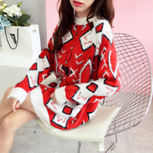 New Fashion Casual with Flower Loose large Sweater Womens Autumn Sprinting Winter Warmer Pullover