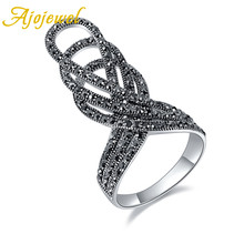 Ajojewel Brand New Size 7-10 Statement Exaggerate Ring Full of Black Rhinestones Vintage Crown Anel For Women Party Accessories