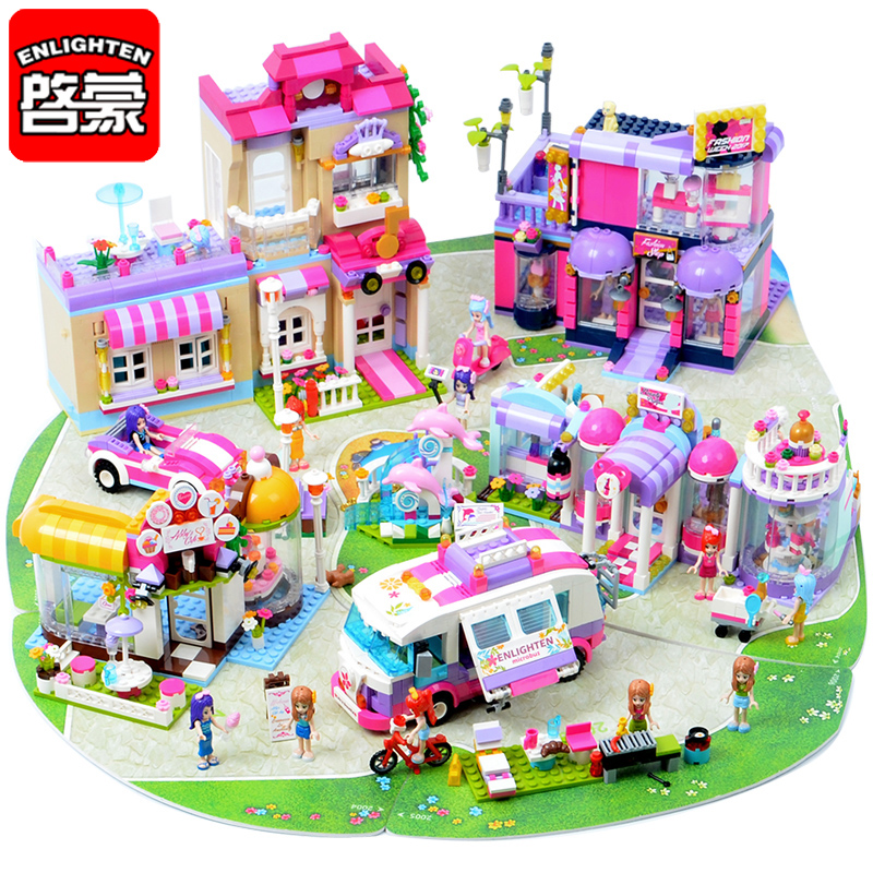 ENLIGHTEN Town Girls Bricks Cherry Bedroom Coffee Shop DIY Kid Educational Toys Birthday Gifts Building Blocks Friends