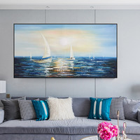 Canvas oil painting caudros decor quadro Wall art Pictures for living room wall decor modern abstract navy blue boat sailing02